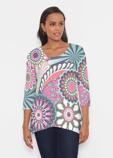 Mod Floral Splash (13323) ~ Katherine Hi-Lo Thermal Tunic