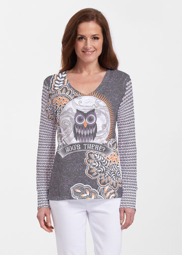 Hoo's There (13337) ~ Thermal Long Sleeve V-Neck Shirt