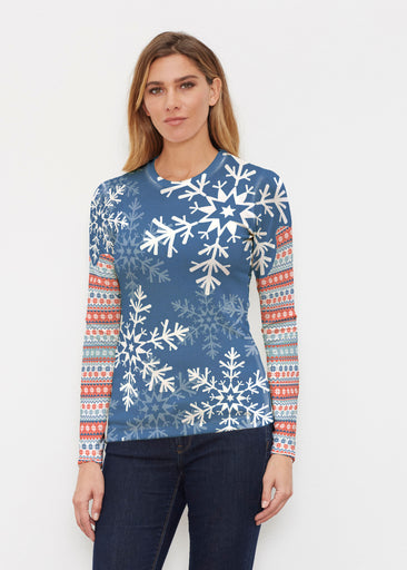 Snowflake Navy (13347) ~ Butterknit Long Sleeve Crew Top