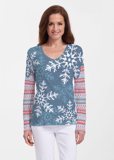 Snowflake Navy (13347) ~ Thermal Long Sleeve V-Neck Shirt