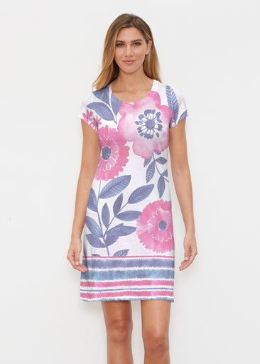 Watercolor Blooms (13355) ~ Classic Crew Dress