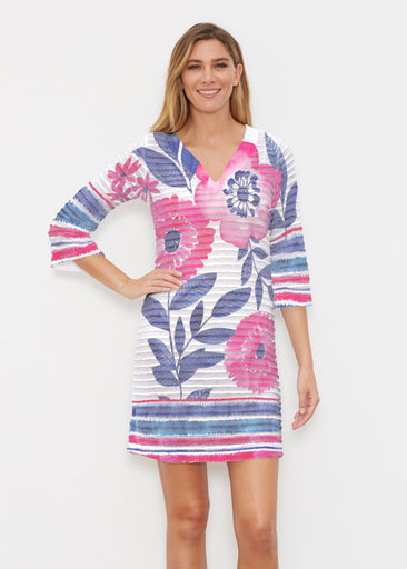 Watercolor Blooms (13355) ~ Banded 3/4 Sleeve Cover-up Dress