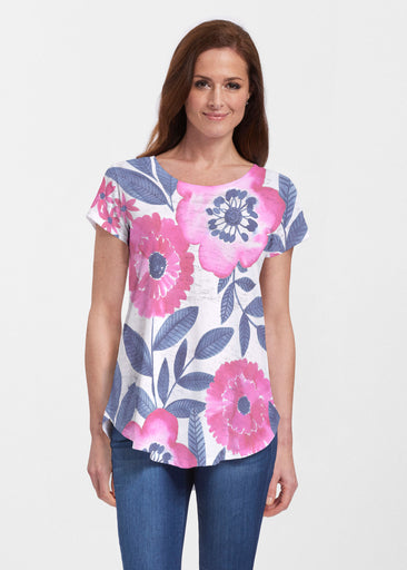 Watercolor Blooms (13355) ~ Signature Short Sleeve Scoop Neck Flowy Tunic