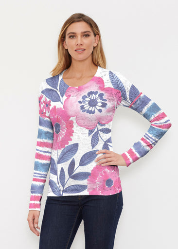 Watercolor Blooms (13355) ~ Thermal Long Sleeve Crew Shirt