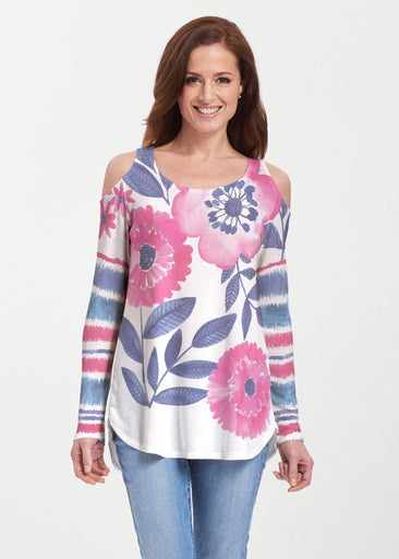 Watercolor Blooms (13355) ~ Butterknit Cold Shoulder Tunic