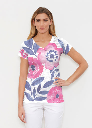 Watercolor Blooms (13355) ~ Signature Cap Sleeve V-Neck Shirt