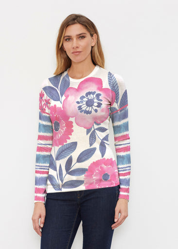 Watercolor Blooms (13355) ~ Butterknit Long Sleeve Crew Top