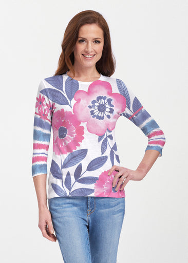 Watercolor Blooms (13355) ~ 3/4 Sleeve Crew