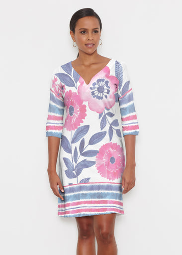 Watercolor Blooms (13355) ~ Classic 3/4 Sleeve Sweet Heart V-Neck Dress