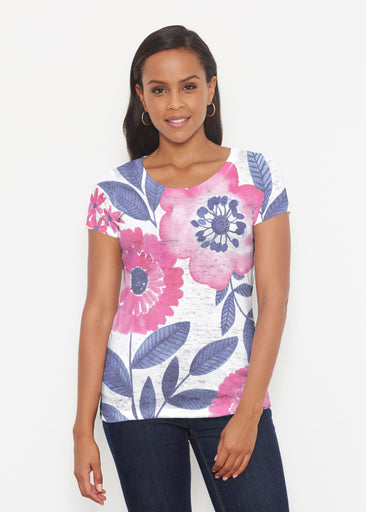 Watercolor Blooms (13355) ~ Signature Short Sleeve Scoop Shirt