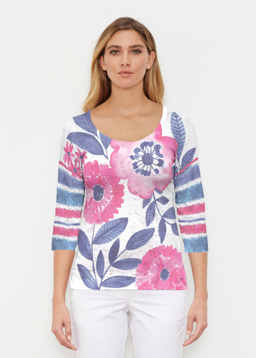 Watercolor Blooms (13355) ~ Signature 3/4 Sleeve Scoop Shirt