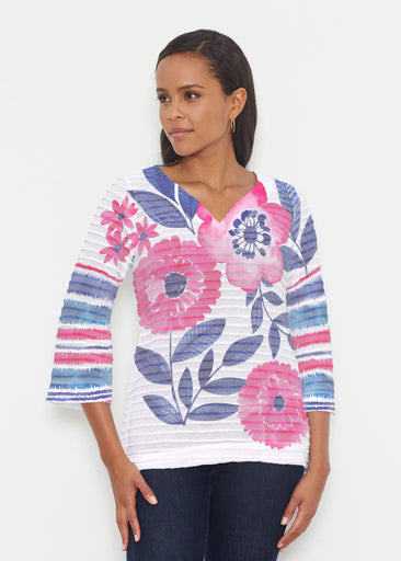 Watercolor Blooms (13355) ~ Banded 3/4 Bell-Sleeve V-Neck Tunic