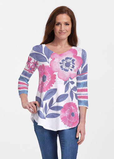 Watercolor Blooms (13355) ~ Signature V-neck Flowy Tunic