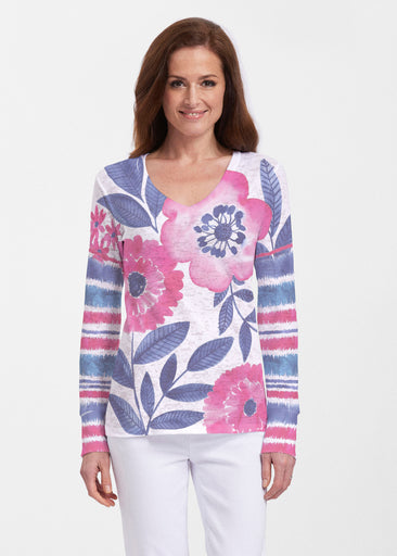 Watercolor Blooms (13355) ~ Thermal Long Sleeve V-Neck Shirt