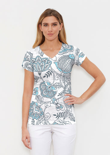Namaste Floral (13366) ~ Signature Cap Sleeve V-Neck Shirt
