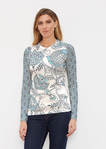 Namaste Floral (13366) ~ Butterknit Long Sleeve Crew Top
