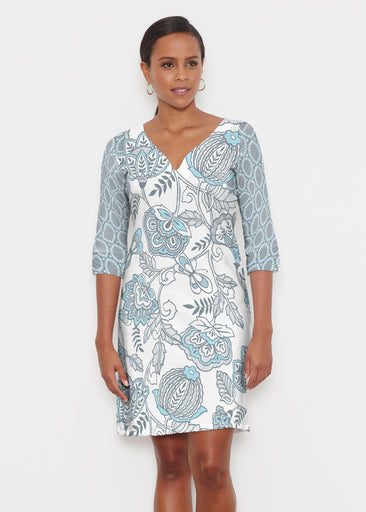 Namaste Floral (13366) ~ Classic 3/4 Sleeve Sweet Heart V-Neck Dress