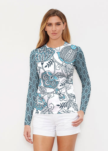 Namaste Floral (13366) ~ Long Sleeve Rash Guard