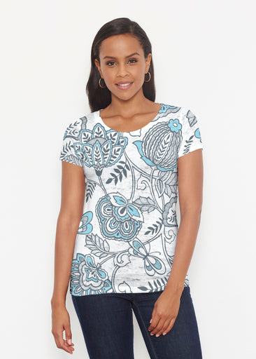 Namaste Floral (13366) ~ Short Sleeve Scoop Shirt