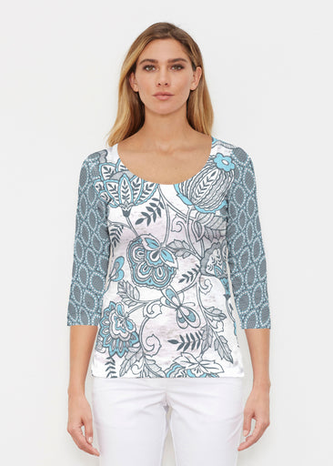 Namaste Floral (13366) ~ Signature 3/4 Sleeve Scoop Shirt