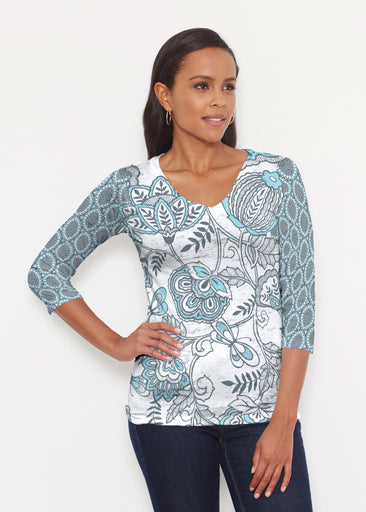 Namaste Floral (13366) ~ Signature 3/4 V-Neck Shirt