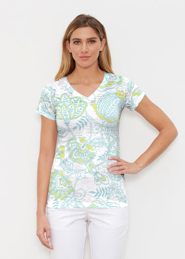 Namaste Lime (13374) ~ Signature Cap Sleeve V-Neck Shirt