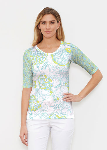Namaste Lime (13374) ~ Signature Elbow Sleeve Crew Shirt