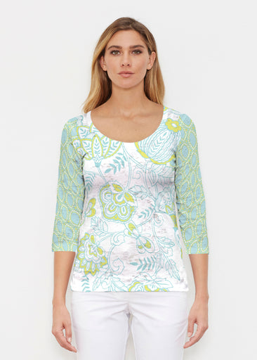 Namaste Lime (13374) ~ Signature 3/4 Sleeve Scoop Shirt