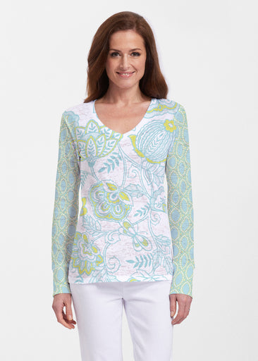 Namaste Lime (13374) ~ Thermal Long Sleeve V-Neck Shirt