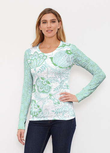 Namaste Green (13375) ~ Thermal Long Sleeve Crew Shirt