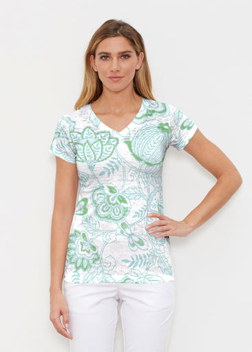 Namaste Green (13375) ~ Signature Cap Sleeve V-Neck Shirt