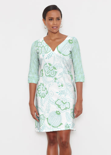 Namaste Green (13375) ~ Classic 3/4 Sleeve Sweet Heart V-Neck Dress