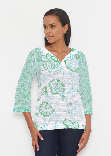 Namaste Green (13375) ~ Banded 3/4 Bell-Sleeve V-Neck Tunic