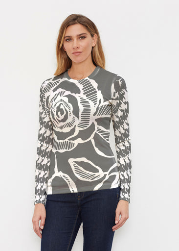 Rose Hounds Tooth Black (13387) ~ Butterknit Long Sleeve Crew Top