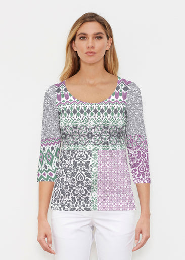 Geo Collage Green (13389) ~ Signature 3/4 Sleeve Scoop Shirt