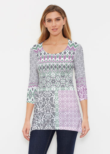 Geo Collage Green (13389) ~ Buttersoft 3/4 Sleeve Tunic