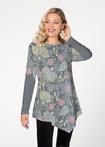 Isabella's Garden (13410) ~ Asymmetrical French Terry Tunic