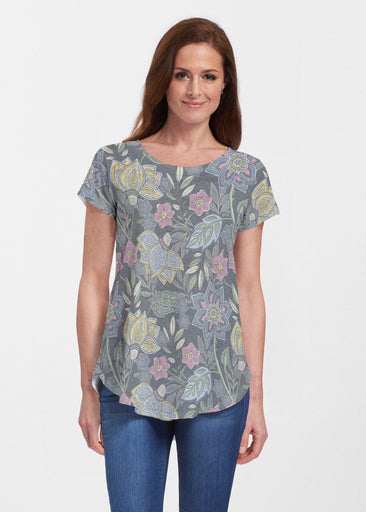 Isabellas Garden (13410) ~ Signature Short Sleeve Scoop Neck Flowy Tunic
