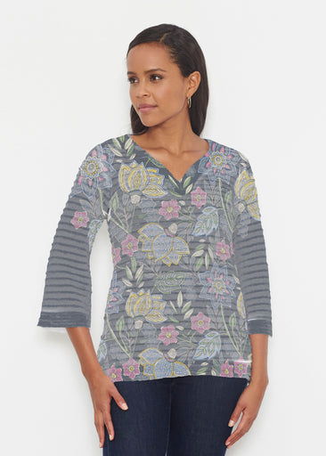 Isabellas Garden (13410) ~ Banded 3/4 Bell-Sleeve V-Neck Tunic