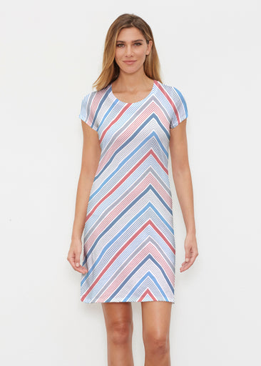 Beach Stripe RWB (13411) ~ Classic Crew Dress