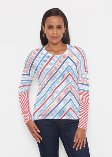 Beach Stripe RWB (13411) ~ Signature Long Sleeve Crew Shirt