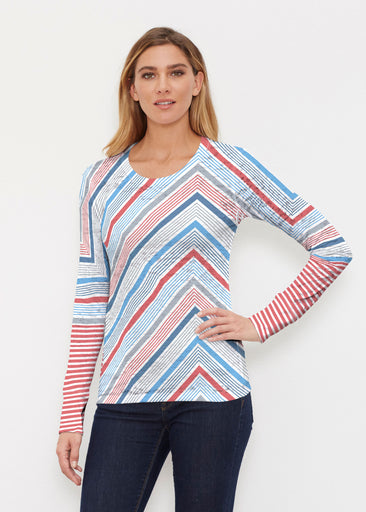 Beach Stripe RWB (13411) ~ Thermal Long Sleeve Crew Shirt