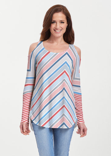 Beach Stripe RWB (13411) ~ Cold Shoulder Tunic