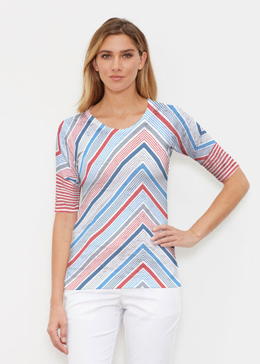Beach Stripe RWB (13411) ~ Elbow Sleeve Crew Shirt