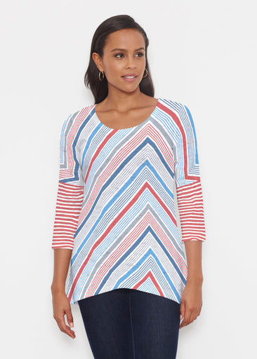 Beach Stripe RWB (13411) ~ Katherine Hi-Lo Thermal Tunic