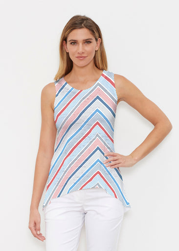 Beach Stripe RWB (13411) ~ High-low Tank
