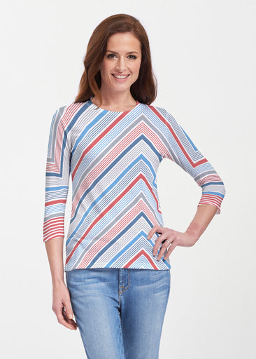 Beach Stripe RWB (13411) ~ 3/4 Sleeve Crew