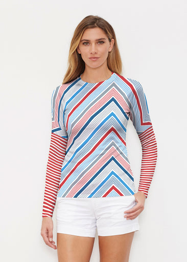 Beach Stripe RWB (13411) ~ Long Sleeve Rash Guard