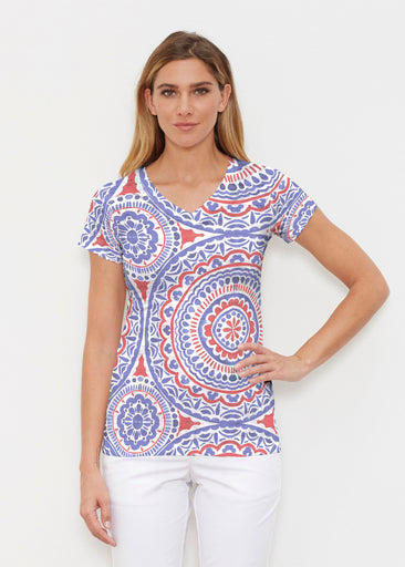 Kaleidoscope RWB (13412) ~ Signature Cap Sleeve V-Neck Shirt
