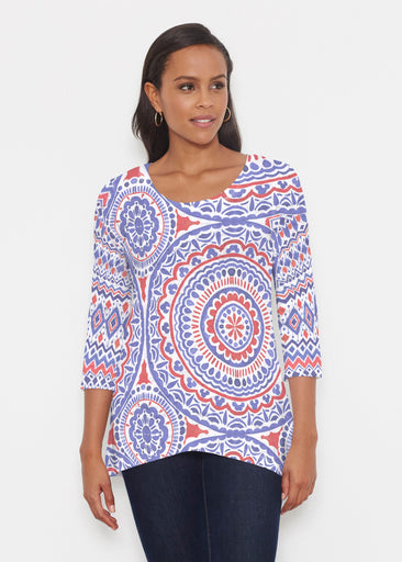 Kaleidoscope RWB (13412) ~ Katherine Hi-Lo Thermal Tunic